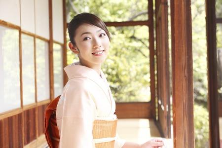 doings: Kimono Lady standing on the veranda