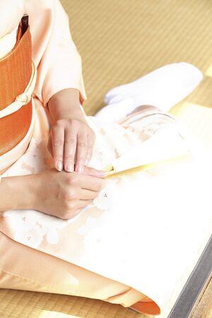 doings: Kimono woman image that you sit on the veranda