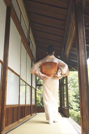 doings: Rear View of kimono woman walking down the hallway