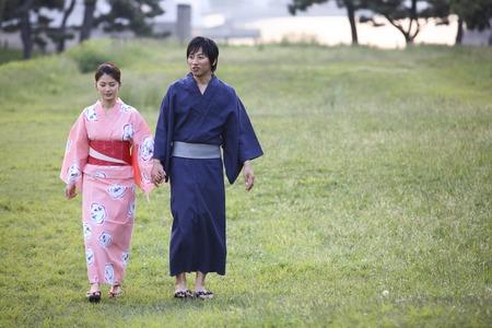 yukata: Yukata couple to walk Stock Photo