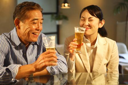 liquor girl: Drink beer businessman and OL Stock Photo