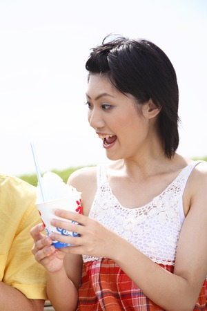 shaved: Women with shaved ice Stock Photo