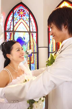 bride veil: Groom raised the bride veil