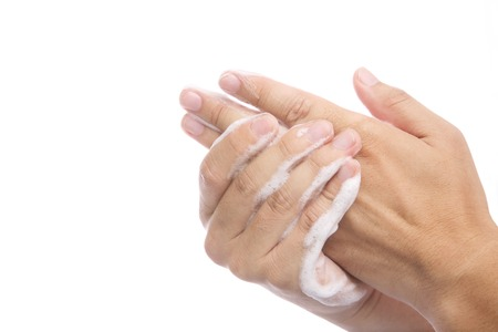 Man washing hands with SOAP in hand