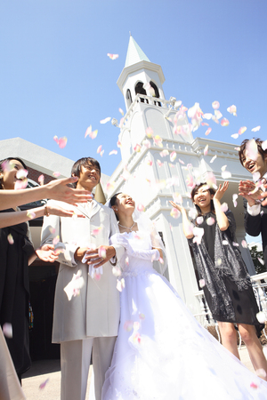 Bride and groom receive the flower shower blessings Banco de Imagens - 47027491