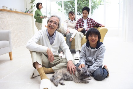 group of pets: Three generations of family togetherness scenery.