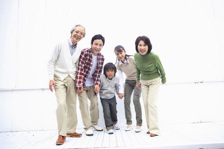 three generations: to start running three generations family Stock Photo