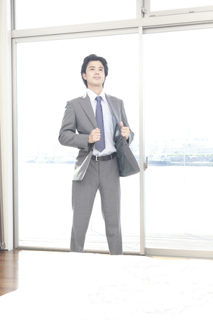 changing clothes: Men put on the suit