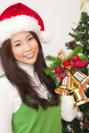 christmas decorations: Women with Christmas decorations