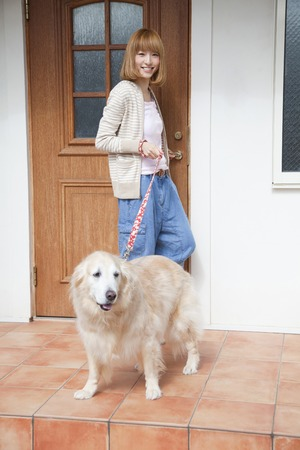 gore: Go out for a walk Gore - Ruden retriever and smiling woman