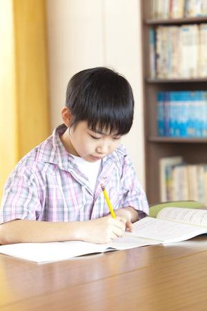 図書館で勉強する男子小学生
