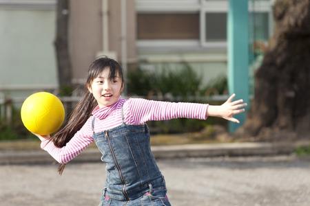 Elementary school girls to the dodgeball