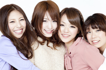 femmes souriantes: Les femmes souriantes Banque d'images