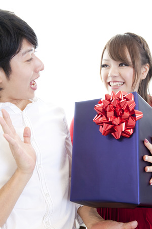 resound: Men surprised to get the gift Stock Photo