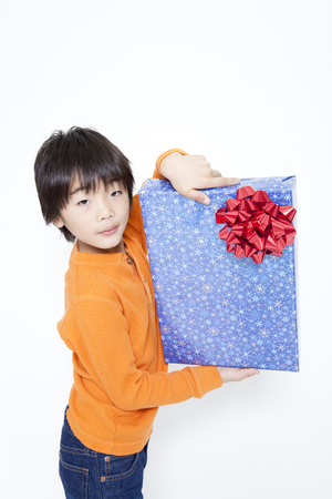 pleased: Boy pleased I got a gift