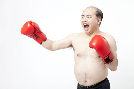 middleaged: Middle-aged to the boxing men
