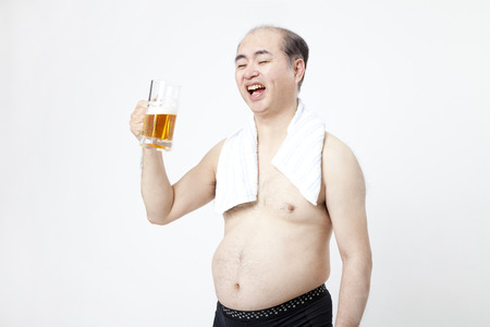 middleaged: Drink beer middle-aged men Stock Photo