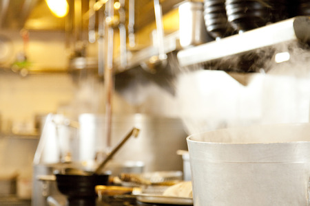 chefs: Ramen restaurant kitchen Stock Photo