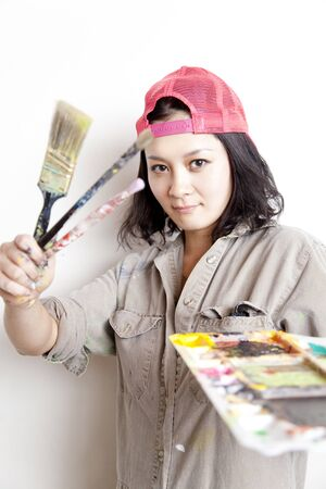 Women with a paintbrush