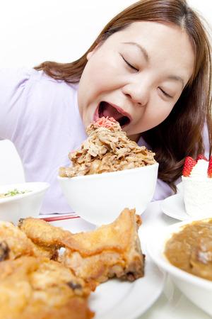 Overweight women eat beef Bowl Stok Fotoğraf - 39851318