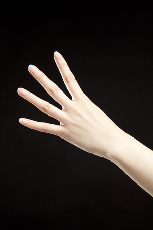 fingers: Four fingers. Stock Photo