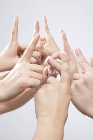 index finger: Hand raised his index finger