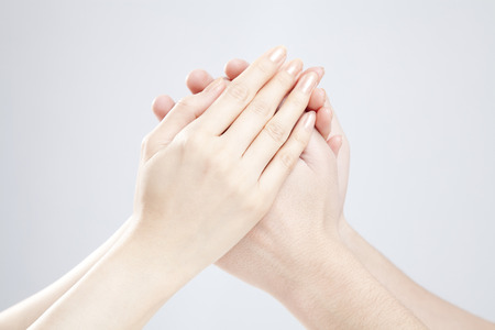 Men and women who hold the hand Stock Photo