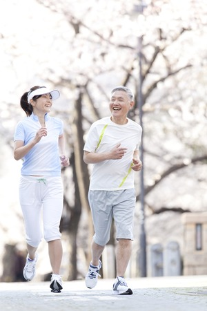asian senior: Senior couple jogging