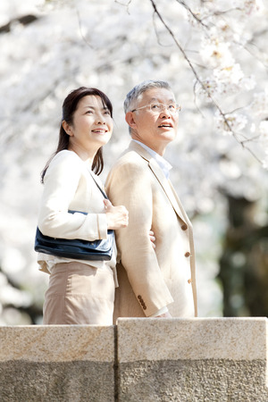 Senior couple looking up at the cherry photo