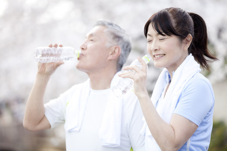 Senior couple drinking water Stock Photo