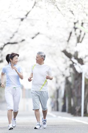 traditional sport: Senior couple jogging