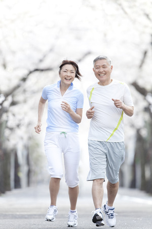 family asia: Senior couple jogging