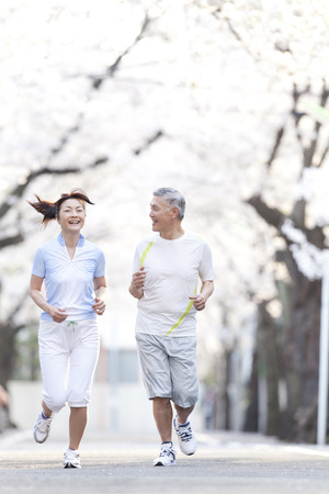 japanese family: Senior couple jogging