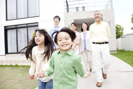 asian old man: Outing to three generation family