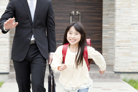Daughter to school with dad
