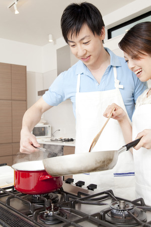 Couples cooking photo