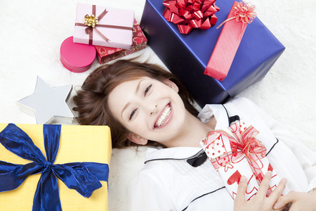 sprawl: Woman surrounded by gifts