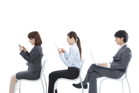 doublet: Businessman and OL to use the mobile device Stock Photo