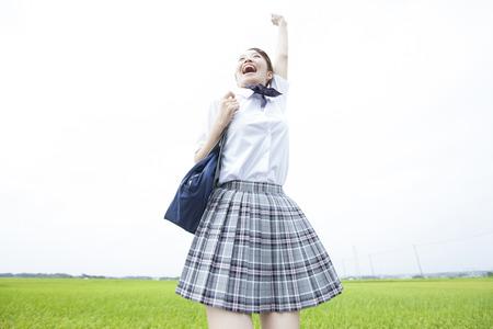 High school girls to jump Stock Photo