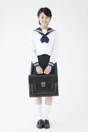 Smiling female junior high school students