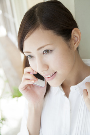 Profile of woman smiling