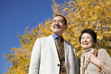 Senior couple smiling in Ginkgo biloba Stock Photo