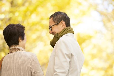 Senior couple chatting in Ginkgo biloba photo