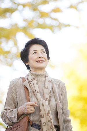 Senior woman walking ginkgo tree-lined