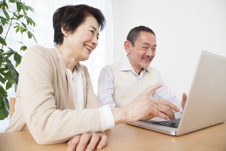living being: Senior couple working with laptop