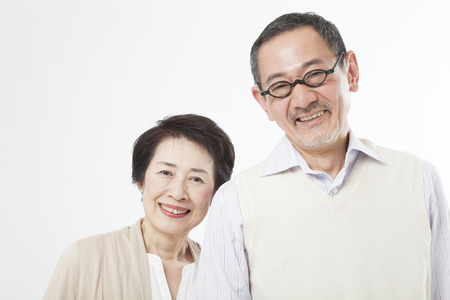 happy people white background: Smiling senior couple Stock Photo
