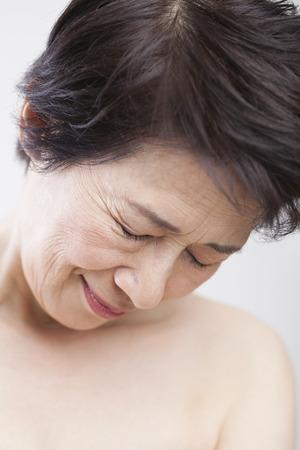 look down: senior women who look down