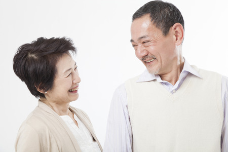Senior couple gazing at Stock Photo