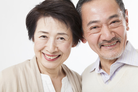 japanese family: Smiling senior couple Stock Photo