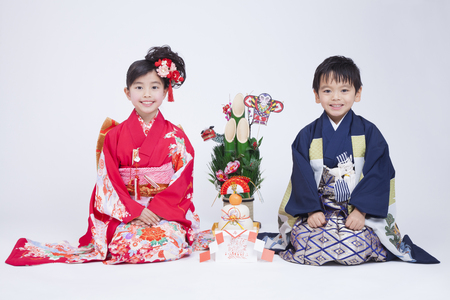 Children to sit in a kimono Stock Photo